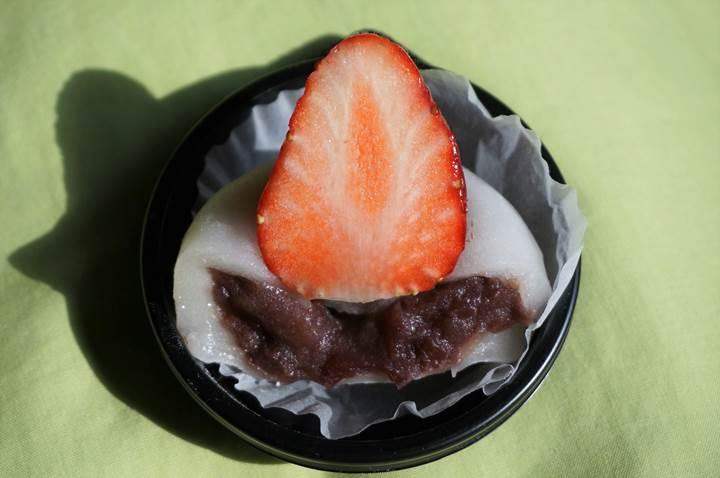 A strawberry and red bean rice cake いちご大福 ICHIGO DAIFUKU